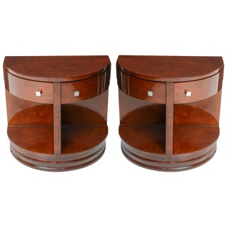 Pair of American Art Deco Style Demi-Lune Side Tables by Widdicomb Furniture