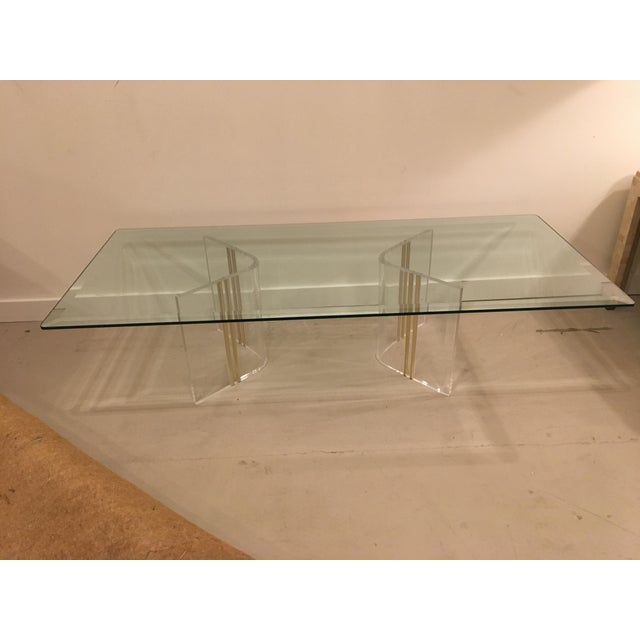 Glass Lucite cocktail table For Sale - Image 7 of 7
