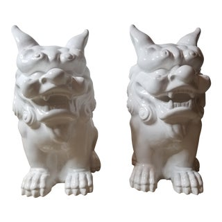 White Ceramic Foo Dogs - a Pair