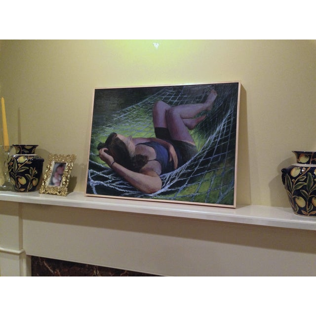 Woman Sleeping on a Hammock in Summer Painting - Image 2 of 2