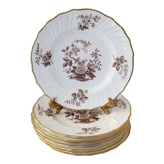"Spode Copeland 8"" Salad Plates in in Brown and White Berkshire Pattern - Set of 8 For Sale"