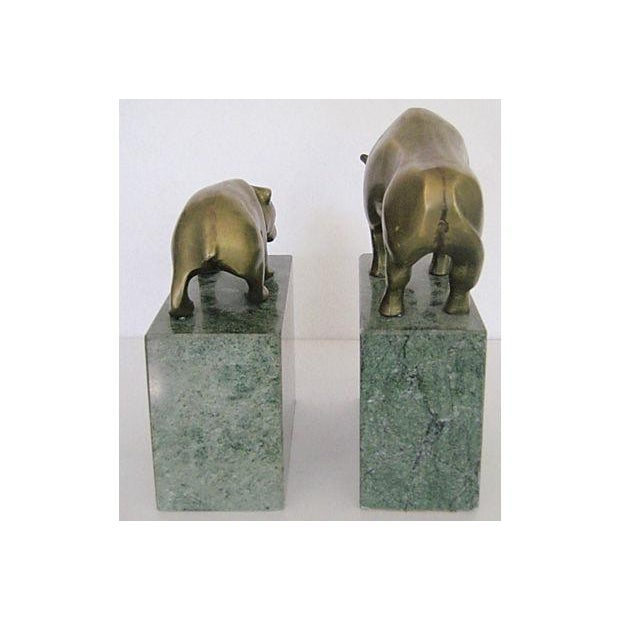 Bear and Bull Brass and Marble Bookends - A Pair - Image 6 of 7