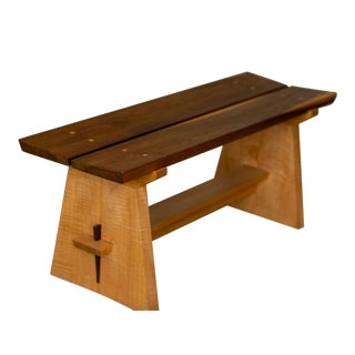 Japanese Walnut Seat Maple Base Bench For Sale