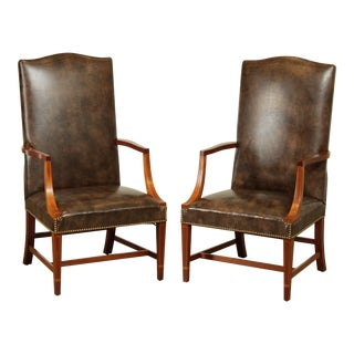 Hepplewhite Style Custom Mahogany Inlaid Brown Leather Martin Washington Lolling Chairs - a Pair For Sale