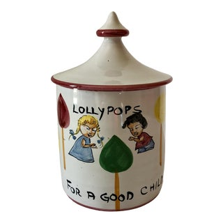 Mid Century Italian Pottery Lollypops Candy Jar For Sale