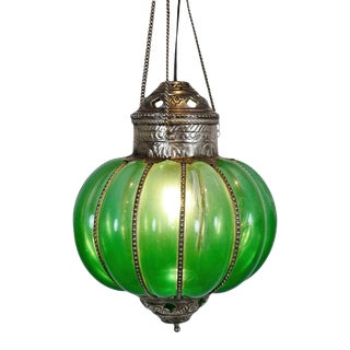 Vintage Green Pumpkin Lantern For Sale