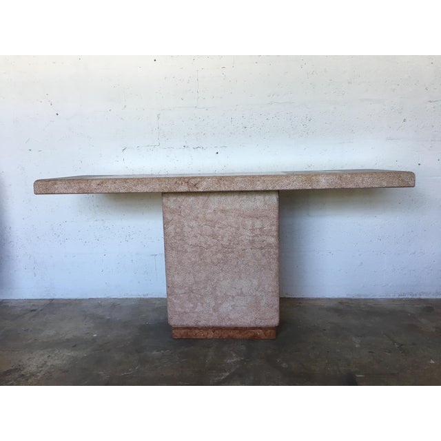 Vintage Pink Italian Marble Modernist Console Table - Image 8 of 9