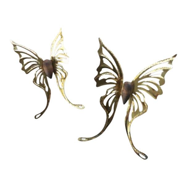 Vintage Butterfly Wall Decors - A Pair - Image 1 of 3