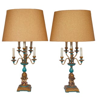 Exquisite Pair of French Inspired Candelabra Lamps with Four Cherubs For Sale