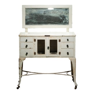 Antique Medical Cabinet With Attached Mirror For Sale