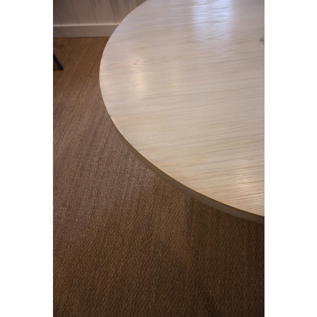 Wood Strieed Sea Foam Green Dining Table With Gold Edge For Sale - Image 7 of 10