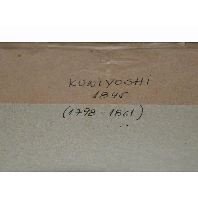 Utagawa Kuniyoshi Japanese Original Gilt Framed Woodcut Print on Paper C. 1845 For Sale - Image 9 of 11