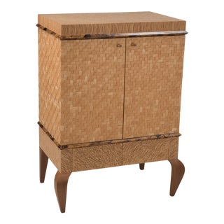 1980s Organic Modern Meticulously Hammered Coconut Shell Cabinet For Sale