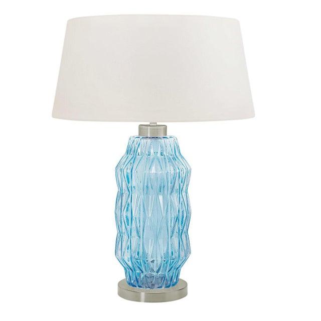 Mid-Century Modern Laguna Column Table Lamp in Aqua Colour For Sale - Image 3 of 3