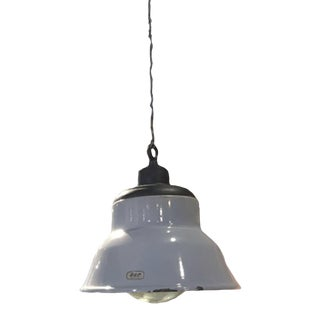 Early 20th Century Gray Enameled Pendant Lights For Sale