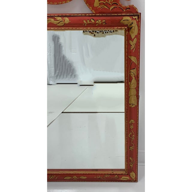 Chinoiserie Pair of Hand Painted Chinoiserie Mirrors For Sale - Image 3 of 7