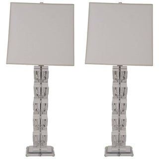 Lucite Lamps in the Style of Karl Springer - a Pair For Sale