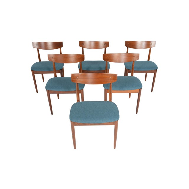 Turquoise Ib Kofod- Larsen for G Plan Teak Dining Chairs - Set of 6 For Sale - Image 8 of 8