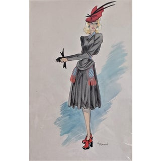Matted Mid-Century FrenhCouture Sport Fashion Design For Sale