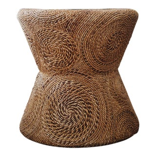Boho Chic Seagrass With Woven Pattern End Table For Sale