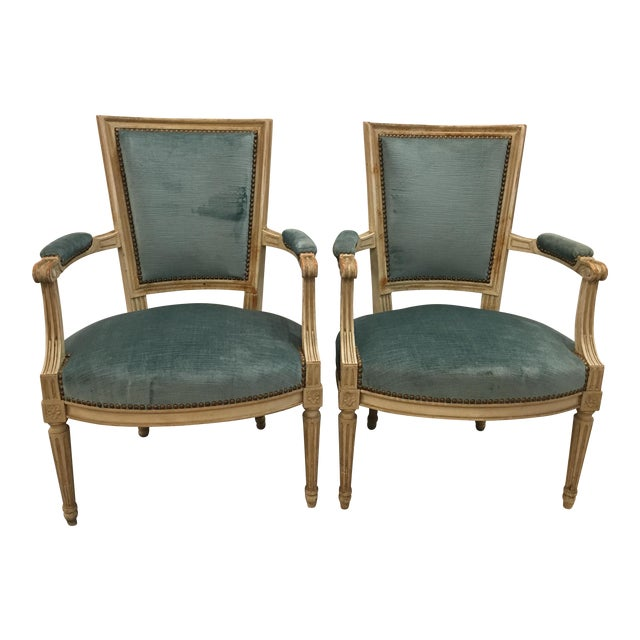 Louis XVI Styled Painted Armchairs in Blue Velvet - a Pair For Sale