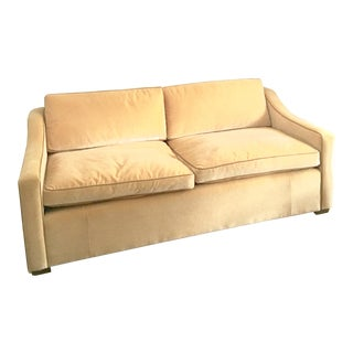 Camel Colored Custom Mohair & Coffee Colored Leather Trim Sofa For Sale