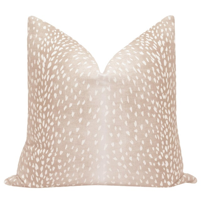 Pair of beautiful custom-made Antelope Linen Print pillows in Blush. Meticulously handcrafted with serged interior seams,...
