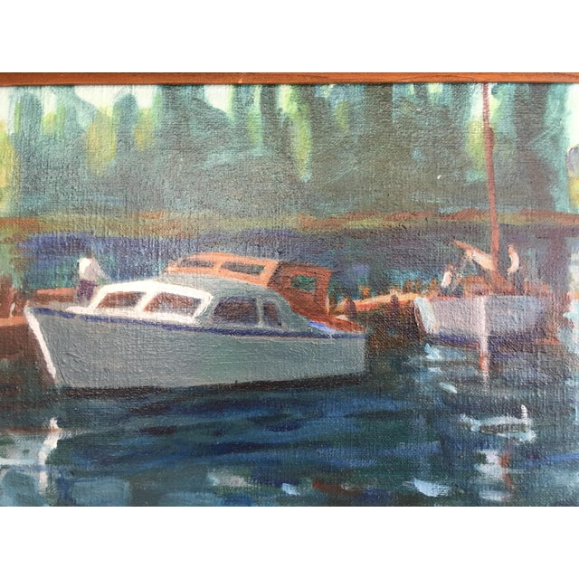 1980s Vintage Oil on Canvas Painting - Napa River For Sale - Image 5 of 8