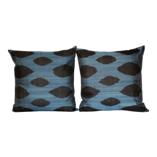 Black & Blue Silk Velvet Ikat Pillows - a Pair