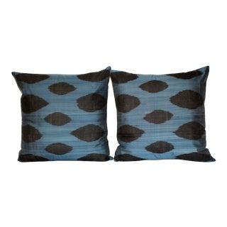 Black & Blue Silk Velvet Ikat Pillows - a Pair