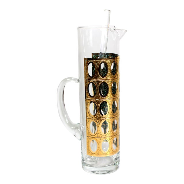 """1960s 22-Karat Gold Culver Ltd. """"Pisa""""Glass Pitcher with Mixing Stick For Sale"""