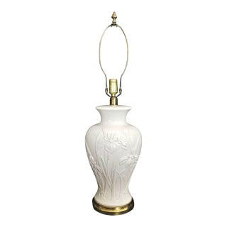 Paul Hansen Style Ceramic Lamp With Raised Iris Relief Design and Brass Base For Sale