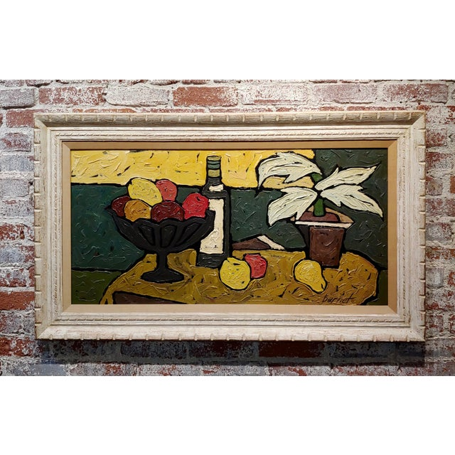"""""""Still Life of Fruits"""" 1960s French Oil Painting by Bernet For Sale - Image 10 of 10"""