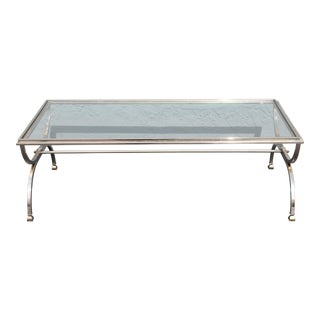 C1960's Mid Century Modern Chrome/ Steel with Glass Coffee Table For Sale