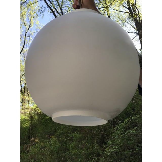 Vintage Mid Century Modern Swedish White Glass Globe Light Chandelier For Sale In Philadelphia - Image 6 of 8