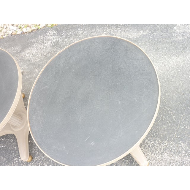 Metal Mid-Century Modern Gray Wooden Round Tables - a Pair For Sale - Image 7 of 8