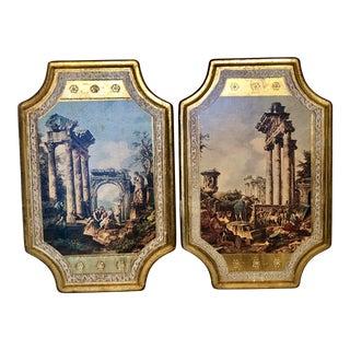 Vintage Italian Florentine Wall Art Plaques - a Pair