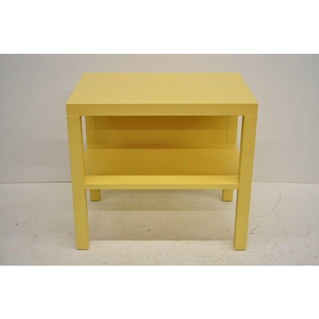 Modern Modern Decca Yellow Grasscloth Raffia Wrapped End Tables - a Pair For Sale - Image 3 of 10