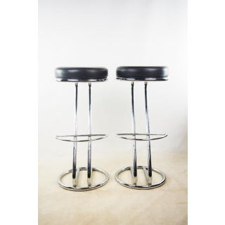 Mid-Century Modern Round Seat Black Leather Barstools With Chrome Base - a Pair Preview