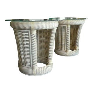 1990s Post Modern Designer Beach House Leather Wrapped Rattan End Tables - a Pair For Sale