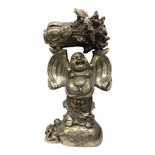 White Bronze Metal Tibetan Happy Buddha For Sale