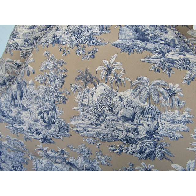 Blue Indian Safari Print Upholstered King Headboard - Image 3 of 5
