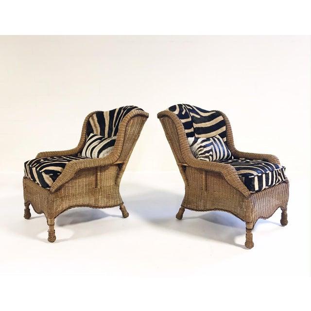 Vintage Ralph Lauren Wicker Wingback Chairs Restored in Zebra Hide - Pair For Sale - Image 12 of 12