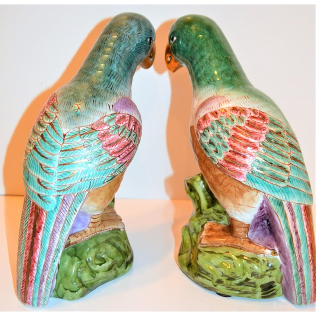 (Final Markdown) Green Majolica Parrot Figurines - a Pair For Sale - Image 4 of 12