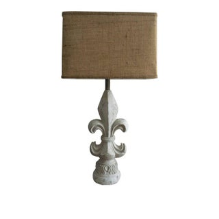 Flue De Lis Style Lamp with Rectangle Burlap Shade For Sale