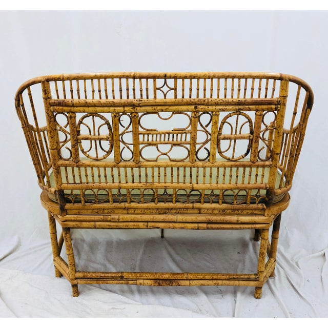 Vintage Scorched Bamboo & Cane Settee For Sale - Image 11 of 13