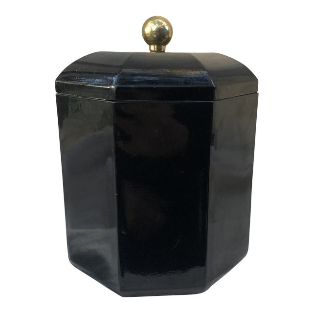 Mid 20th Century Black Lacquer Octagonal Ice Bucket For Sale