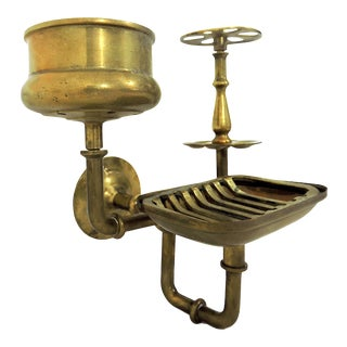 Antique Victorian Brass Bathroom Organiser, Toothbrush, Cup and Soap Holder For Sale
