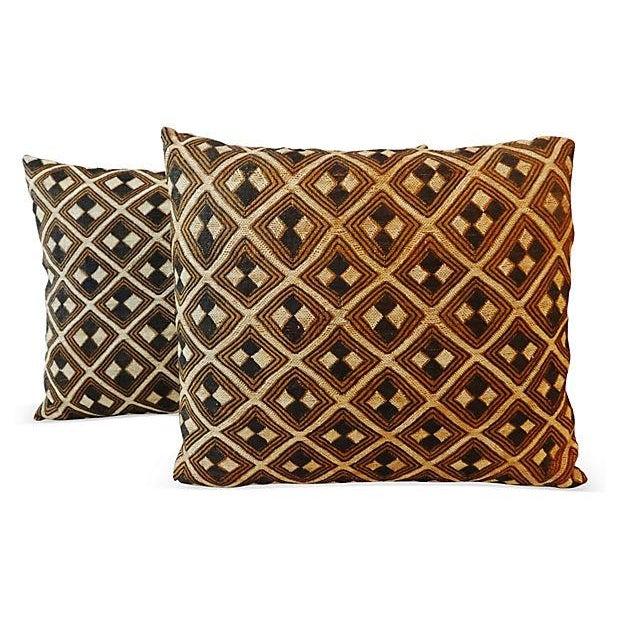 African Kuba Pillows - Pair - Image 5 of 5