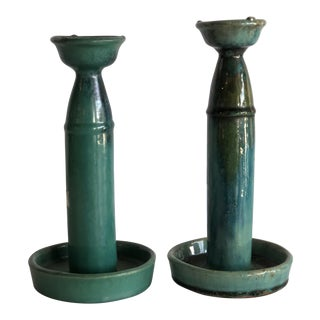 Chinese Glazed Pottery Oil Lamps - A Pair For Sale